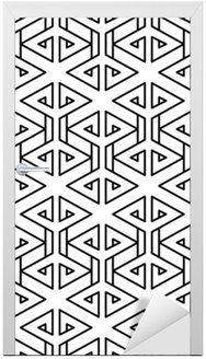 Abstract geometric black and white hipster fashion pillow pattern Door Sticker