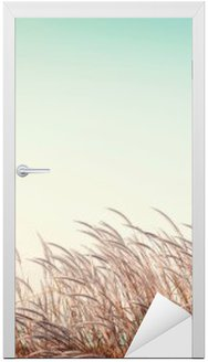 abstract vintage nature background - softness white feather grass with retro blue sky space Door Sticker