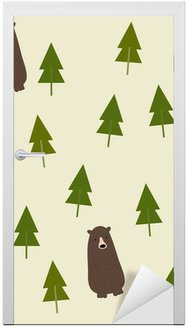 Bear and forest seamless background. Door Sticker