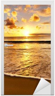 Door Sticker beautiful sunset on the beach