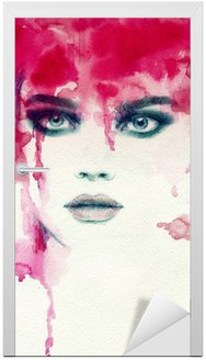 Beautiful woman. watercolor illustration Door Sticker