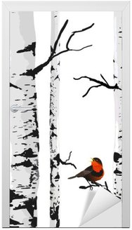 Bird of birches, vector drawing with editable elements. Door Sticker