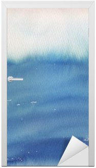 blue ombre watercolor background Door Sticker