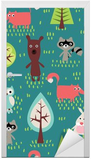 Door Sticker Cute animals seamless pattern
