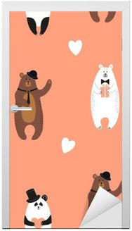 Door Sticker Cute bears pattern. Seamless romantic background with polar bear, brown bear and panda.