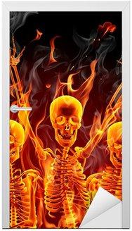 Door Sticker Fire skeletons
