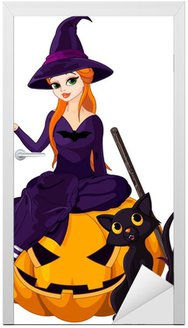 Door Sticker Halloween Witch on pumpkin