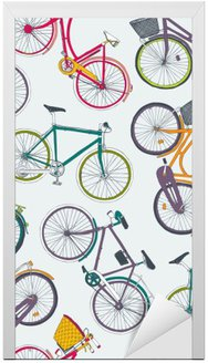 hand drawn vector seamless pattern with city bikes Door Sticker