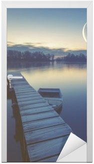 Marina on the lake, boats moored to a wooden pier, retro colors Door Sticker