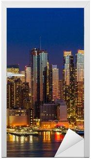 New York City Manhattan midtown buildings skyline night Door Sticker