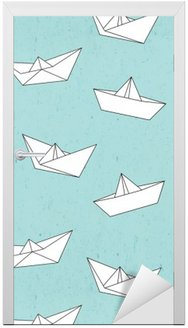 Paper boat pattern Door Sticker