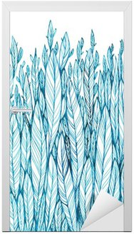 pattern of blue leaves, grass, feathers, watercolor ink drawing Door Sticker