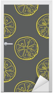 Pattern with lemon slices on gray background. Door Sticker