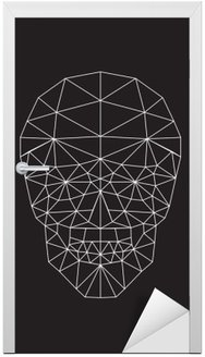 polygonal vector skull Door Sticker