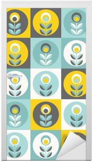 Retro floral pattern, geometric seamless flowers Door Sticker