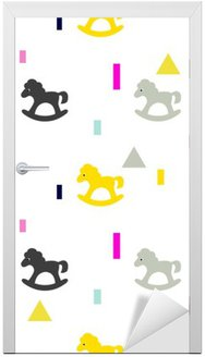 Rocking horse gray, pink and yellow kid pattern. Baby horse toy vector seamless pattern for fabric print and apparel.