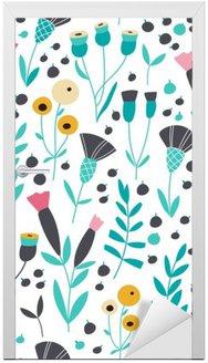 Seamless bright scandinavian floral pattern Door Sticker