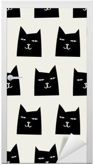 Door Sticker seamless cat pattern