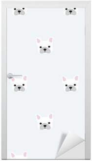 seamless french bulldog pattern Door Sticker