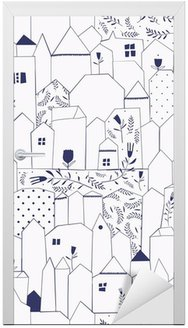 Seamless pattern. Figure cities in vintage style. Door Sticker