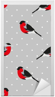 Seamless pattern in polka dot with bullfinch. Ornament for textile and wrapping. Vector background. Door Sticker