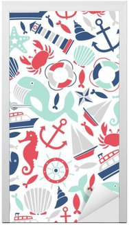Door Sticker seamless pattern with sea icons
