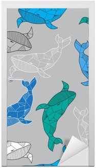 Seamless sea pattern with hand drawn whales Door Sticker