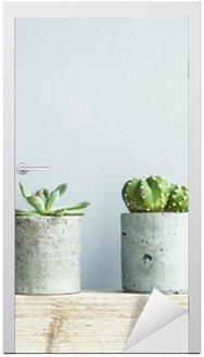 Succulents in diy concrete pot. Scandinavian room interior decor Door Sticker