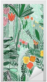 Door Sticker Tropical seamless floral pattern