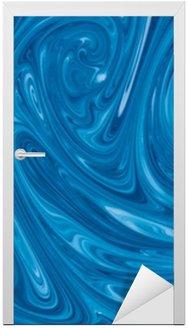 Door Sticker turquoise watercolor marble background