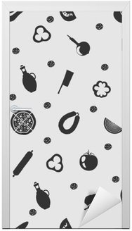 Door Sticker Vector illustration pizza on the background seamless pattern