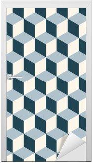 Vintage cubes 3d pattern background. Retro vector pattern. Door Sticker
