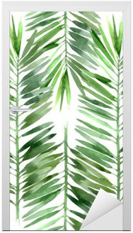 watercolor palm tree leaf seamless Door Sticker