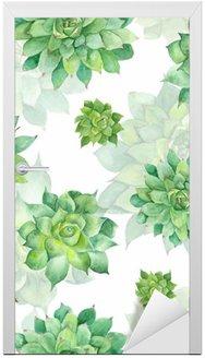 Door Sticker Watercolor Succulent Pattern on White Background