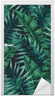 Watercolor tropical palm leaves seamless pattern. Vector illustration. Door Sticker