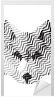 wolf engraved sign illyustrat vector animals Door Sticker