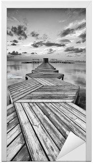 Zig Zag dock in black and white Door Sticker