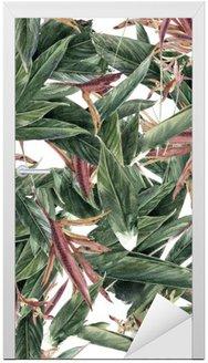 Akvarel maleri af blade og blomster, sømløse mønster Dør Klistemærke