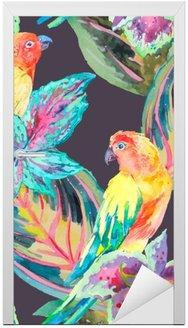 Dörrdekor Vattenfärg papegojor .Tropical blommor och blad.