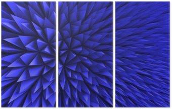 Drieluik Abstract Poligon Chaotische Blauwe Achtergrond