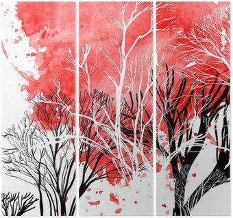 Drieluik Abstract silhouet van bomen