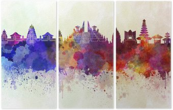 Drieluik Bali skyline in aquarel achtergrond
