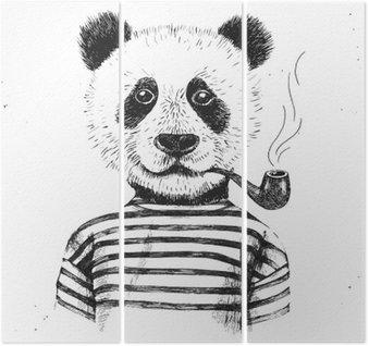 Drieluik Hand getekende illustratie van hipster panda