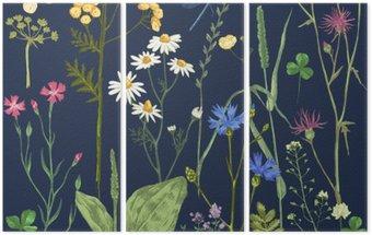 Drieluik Hand getrokken set met kruiden en bloemen