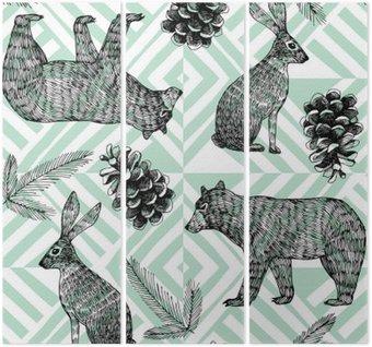 Drieluik Handgetekende winter trendy patroon, geometrische achtergrond