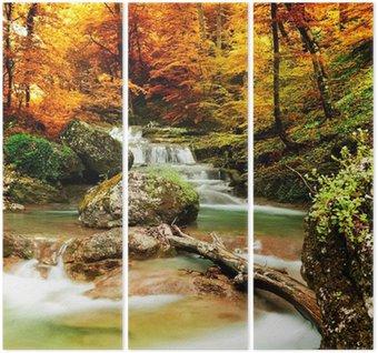 Drieluik Herfst creek bos met gele bomen