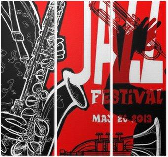 Drieluik Jazz poster met saxofonist