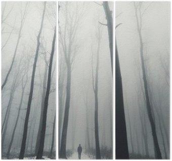 Drieluik Man in het bos met hoge bomen in de winter