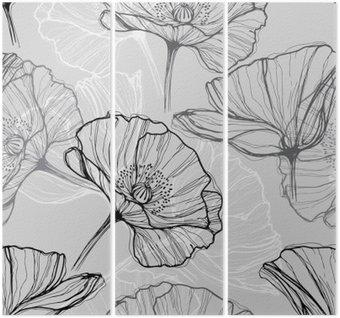 Drieluik Monochrome naadloze patroon met klaprozen. Met de hand getekende bloemen achtergrond