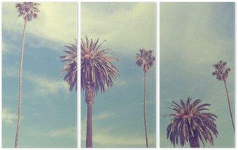 Drieluik Palmbomen bij Santa Monica strand.